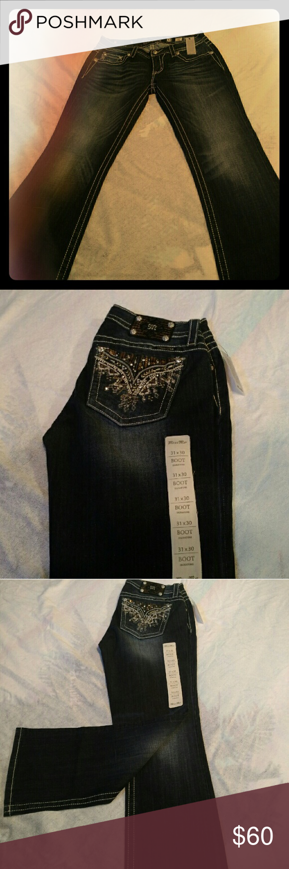 ***MISS ME JEANS****BRAND NEW!! NWT...Jeans from Miss Me.. Awesome pocket bling... sure to grab attention.  Size 31X30 Boot cut .. great and comfortable for going out or a day or riding ..   Any questions pls let me know..!! Miss Me Jeans Boot Cut
