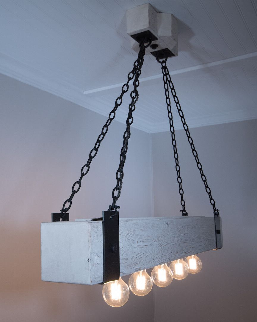 The Scantling 4ft Beam Chandelier Edison Bulb Bottle Lamp Edison Bulb Chandelier