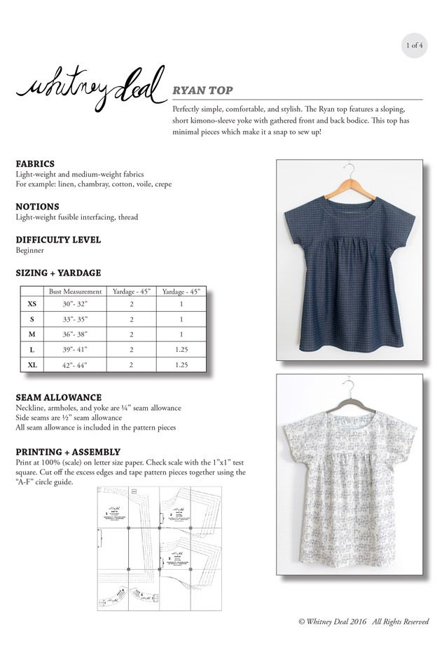 Ryan Top Sewing Pattern by Whitney Deal | Sewing patterns
