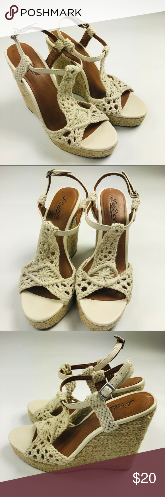 899467d6df4 Lucky Brand Rilo Wedge Sandals Ivory Crochet 8 Lucky Brand Women Rilo Wedge  Sandals Ivory cream