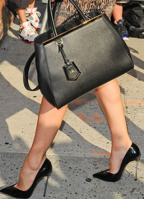 Fendi 2Jours Bag in balck leather   black pointy pumps  ecd431dbed930