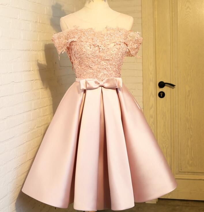 282a47cd704d ... Appliques Prom Dress. Lovely Light Pink Off Shoulder Satin and Lace