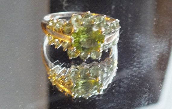 Green Tourmaline RIng Set in Sterling Sterling by GiftShopVintage