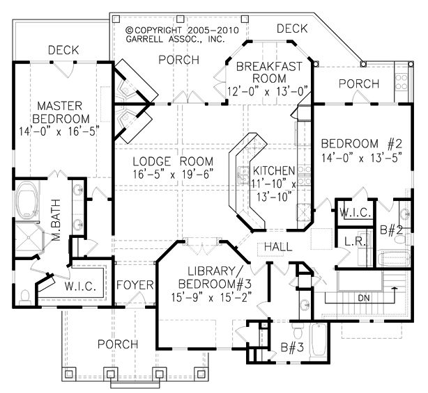Sugarloaf Cottage 05059 House Plans By Garrell Ociates Inc Skip Bathroom 2 To Expand Laundry Room Instead