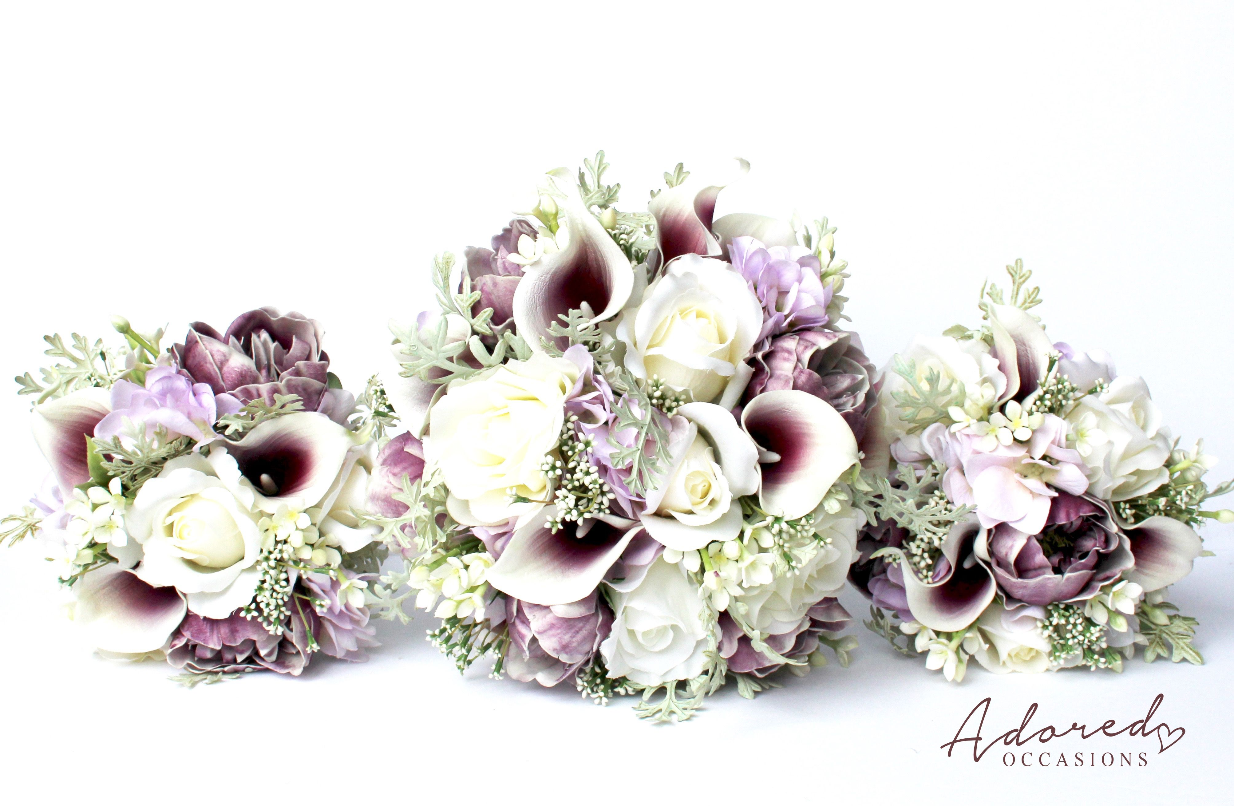 This Gorgeous Wedding Bouquet Is Made Up Of Real To Touch Purple