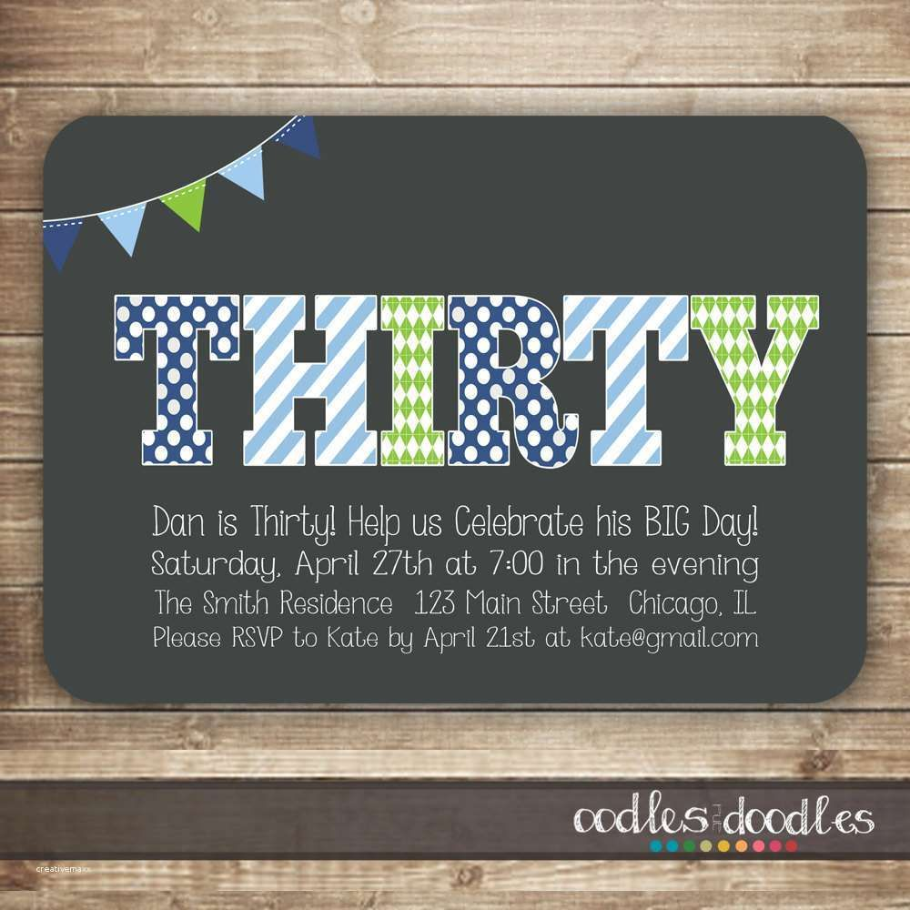 40th Birthday Party Invitations For Him New 30th Invitation Men Thirty 50th