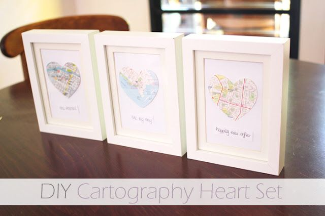 DIY decor art, framed hearts cut out of maps