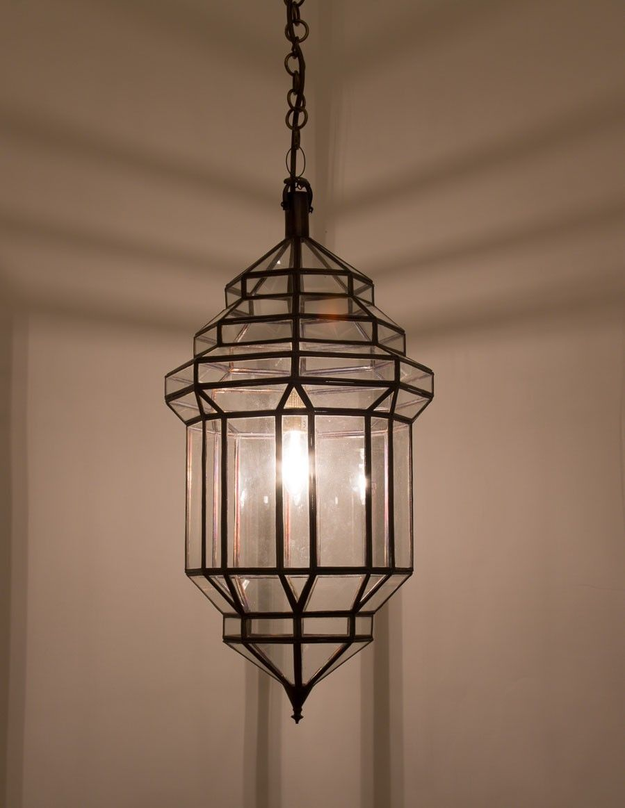 A Contemporary Moroccan Andalusian Pendant With Timeless Geometric Metal And Glass Arrangement