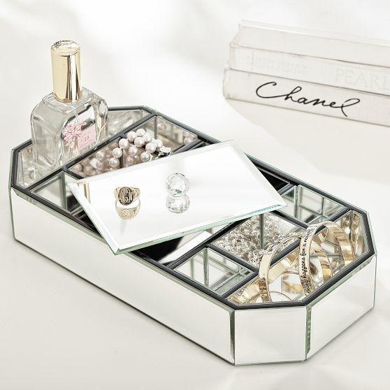 Mirrored Octagon Box Jewelry Box Mirror Custom Jewelry
