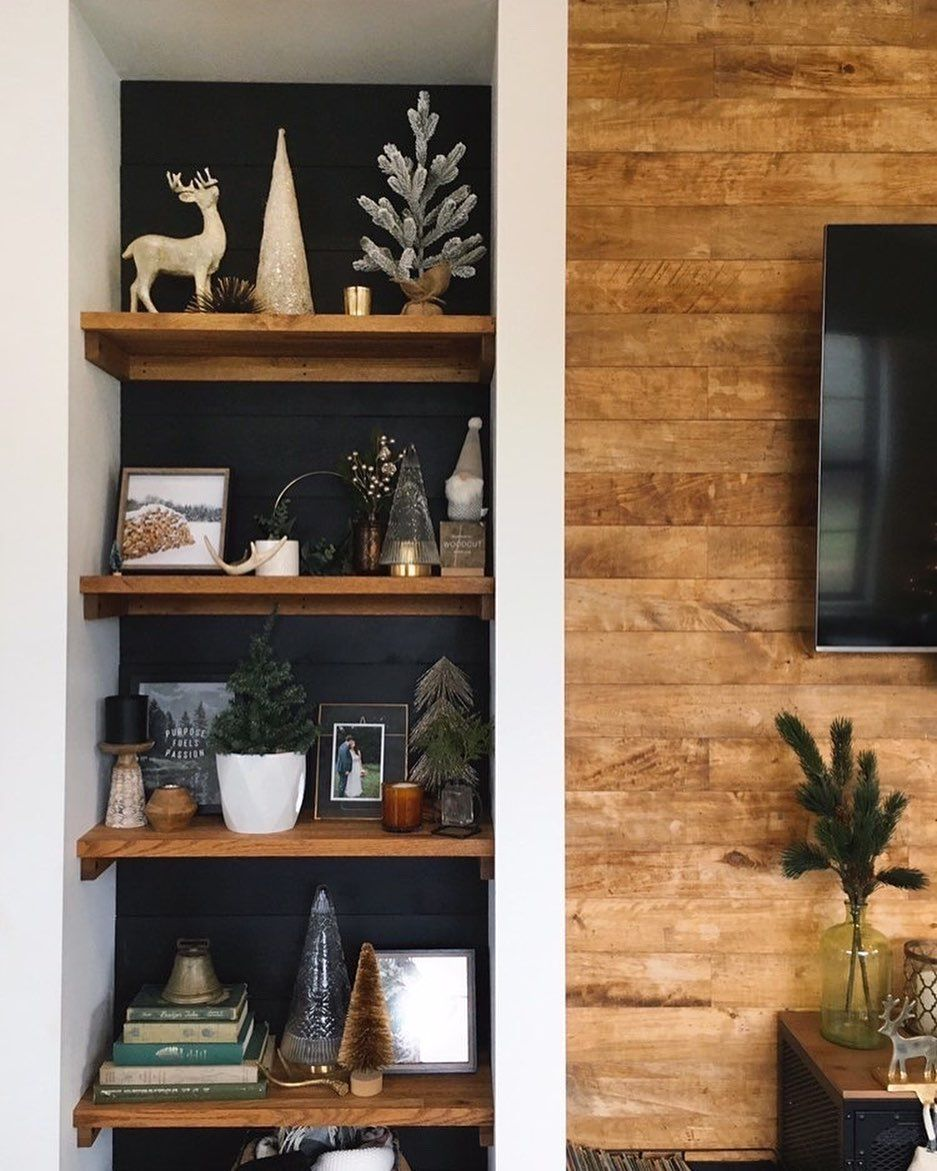 Living Room Shelf Styling Modern Farmhouse Rustic Modern In 2020 Apartment Decor Inspiration Winter Home Decor Apartment Decor #rustic #living #room #shelf
