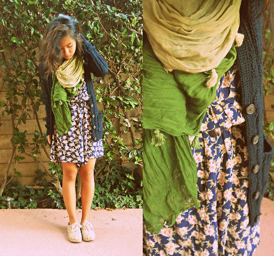Down to Earth. (by Angela Le) http://lookbook.nu/look/4309023-Moms-Closet-Floral-Dress-Abercrombie-Cableknit