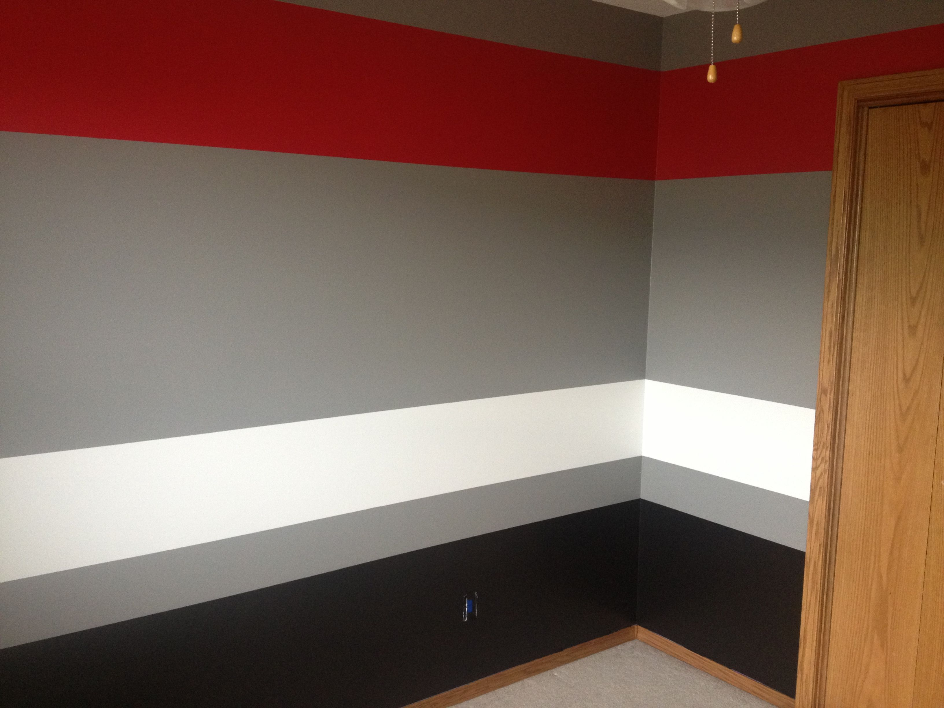 Painted room grey red white black rooms pinterest for Bedroom designs red and black