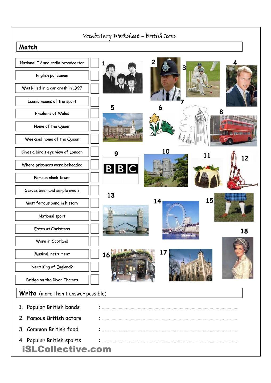 Vocabulary Matching Worksheet & Quiz - BRITISH ICONS & LANDMARKS ...