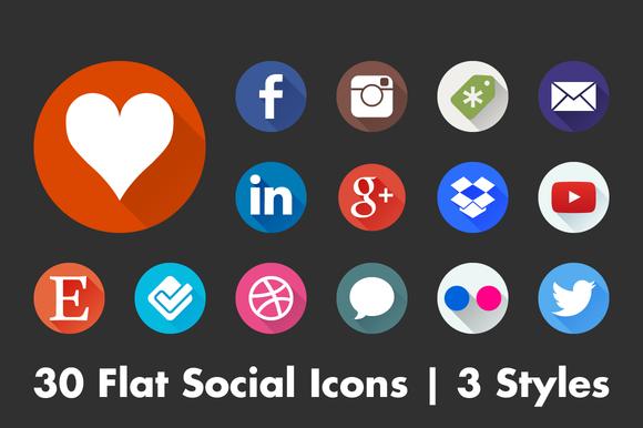 Social Flat Icons by Marmalade Moon on @creativemarket