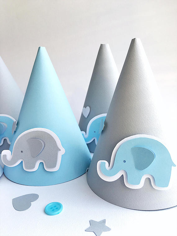 Blue Gray Party Hats Elephant Baby Boy 1 St Birthday Decorations Shower Kids Paper Con
