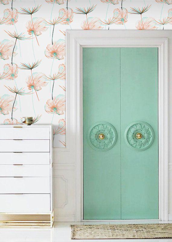 Dandelion Seed Wallpaper Watercolor Dandelion Removable Etsy Removable Wallpaper Self Adhesive Wallpaper Home Decor