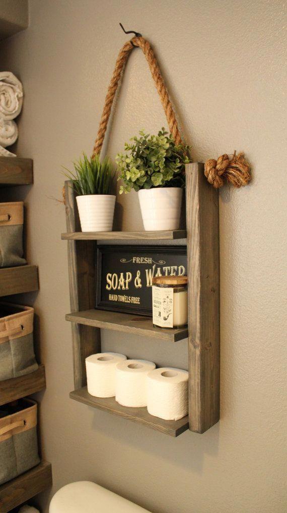 Farmhouse Furniture Bathroom Shelf Organizer,  Ladder Storage Shelf, Modern Wood and Rope Decor, Cabin Furniture, Medicine Cabinet