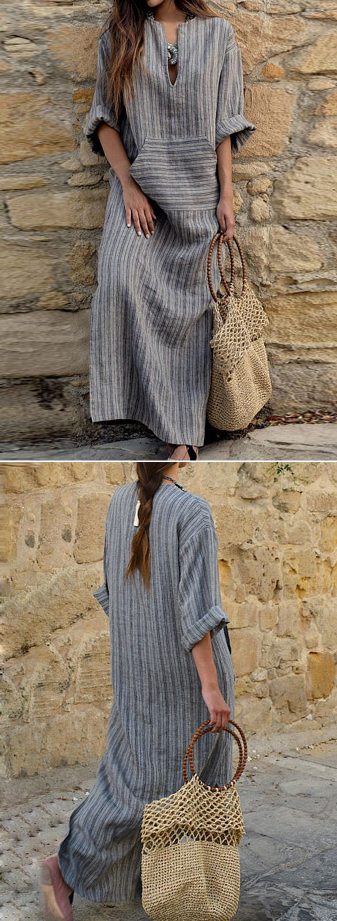 Striped v neck long sleeve loose maxi dress with pockets day dress