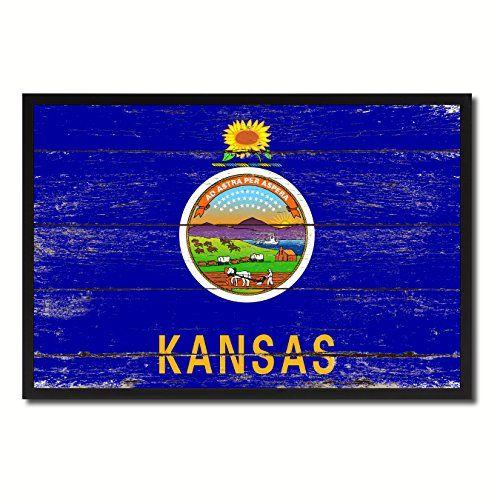 "Kansas State Flag Map Modern Style Black Custom Made Frame Souvenir Gift Idea Office Home Wall Décor Bedroom Livingroom Masteroom Gameroom ManCave Bar Housewarming Birthday Decoration Art Shabby Cottage Chic ""SPECIAL SALE 50% OFF"" AllChalkboard http://www.amazon.com/dp/B00ZJ8W9BG/ref=cm_sw_r_pi_dp_2VzJvb1681G9K"