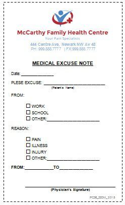 Medical Excuse Doctors Note | Doctors Note For Work in ...