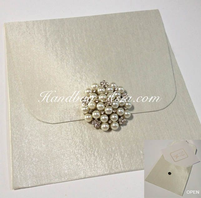 New Ivory Cardboard Silk Envelope With Large Pearl Brooch