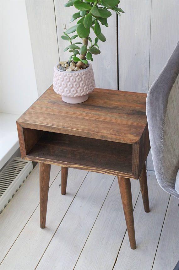 Smoked Mid-century Modern inspired nightstand | Oak Bedside ...
