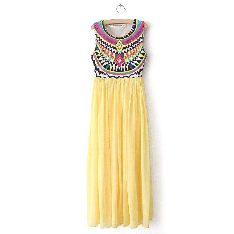 Cheap Wholesale Special Print Bohemian Style Chiffon Ruffled Scoop Neck Sleeveless Women's Maxi Dress (YELLOW,ONE SIZE) At Price 11.80 - DressLily.com