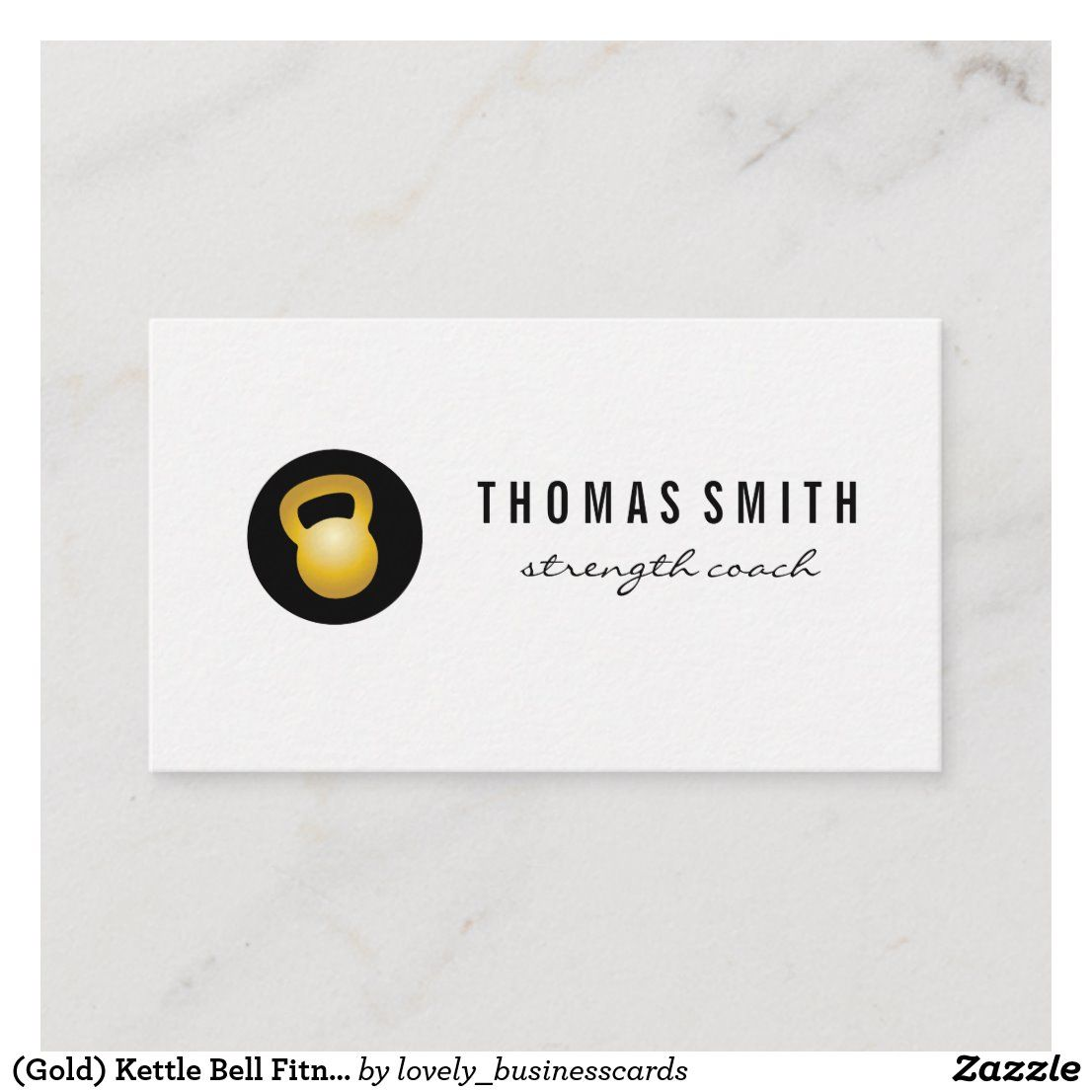 (Gold) Kettle Bell Fitness Trainer Business Card Zazzle