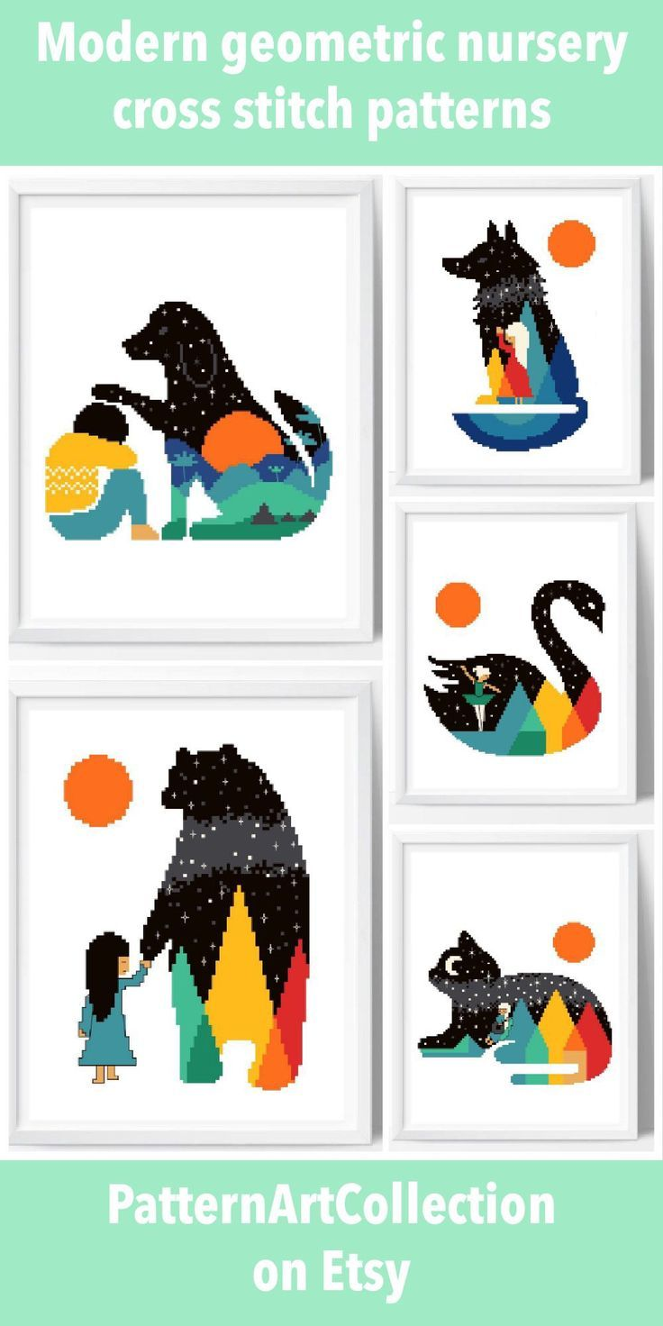 Cute, easy to stitch colorful cross stitch patterns for nursery ...