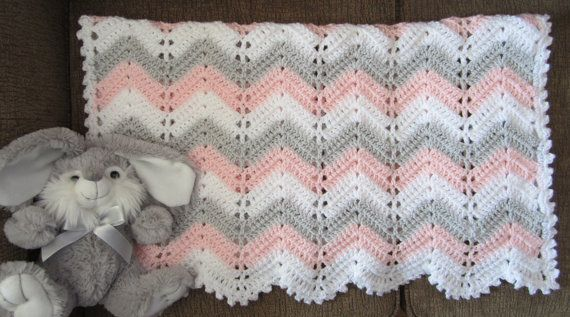 modern chevron pink gray white baby by DonnasPinsandNeedles, $52.95