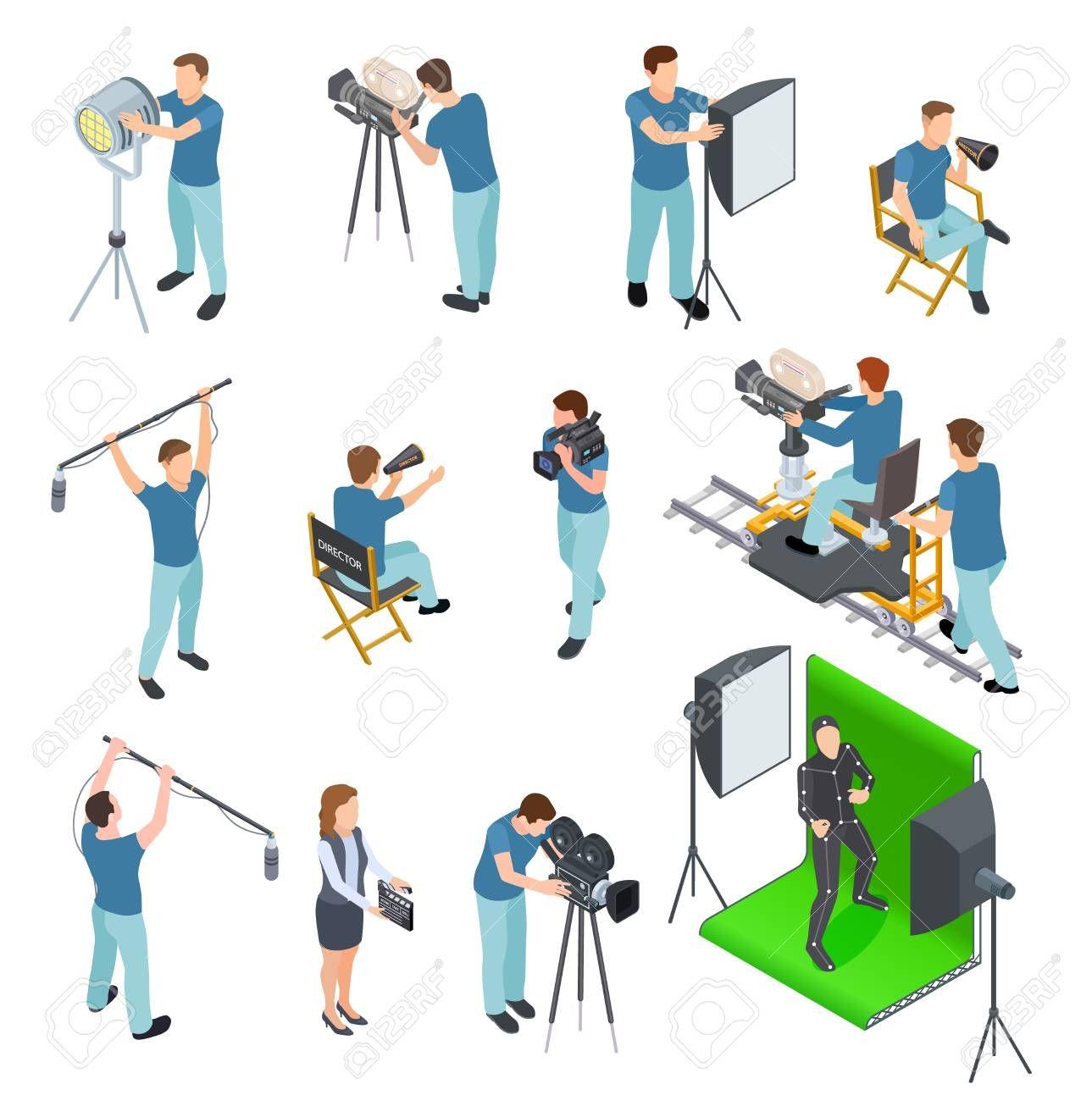 Cinematograph Isometric Set People Work Camera Light Crew Movie Video Film Motion Production Tv Studio Green Scre Studio Green Greenscreen Camera Illustration