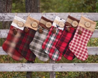 Flannel Christmas Stocking with Personalized Wood by OMySoulStudio ...