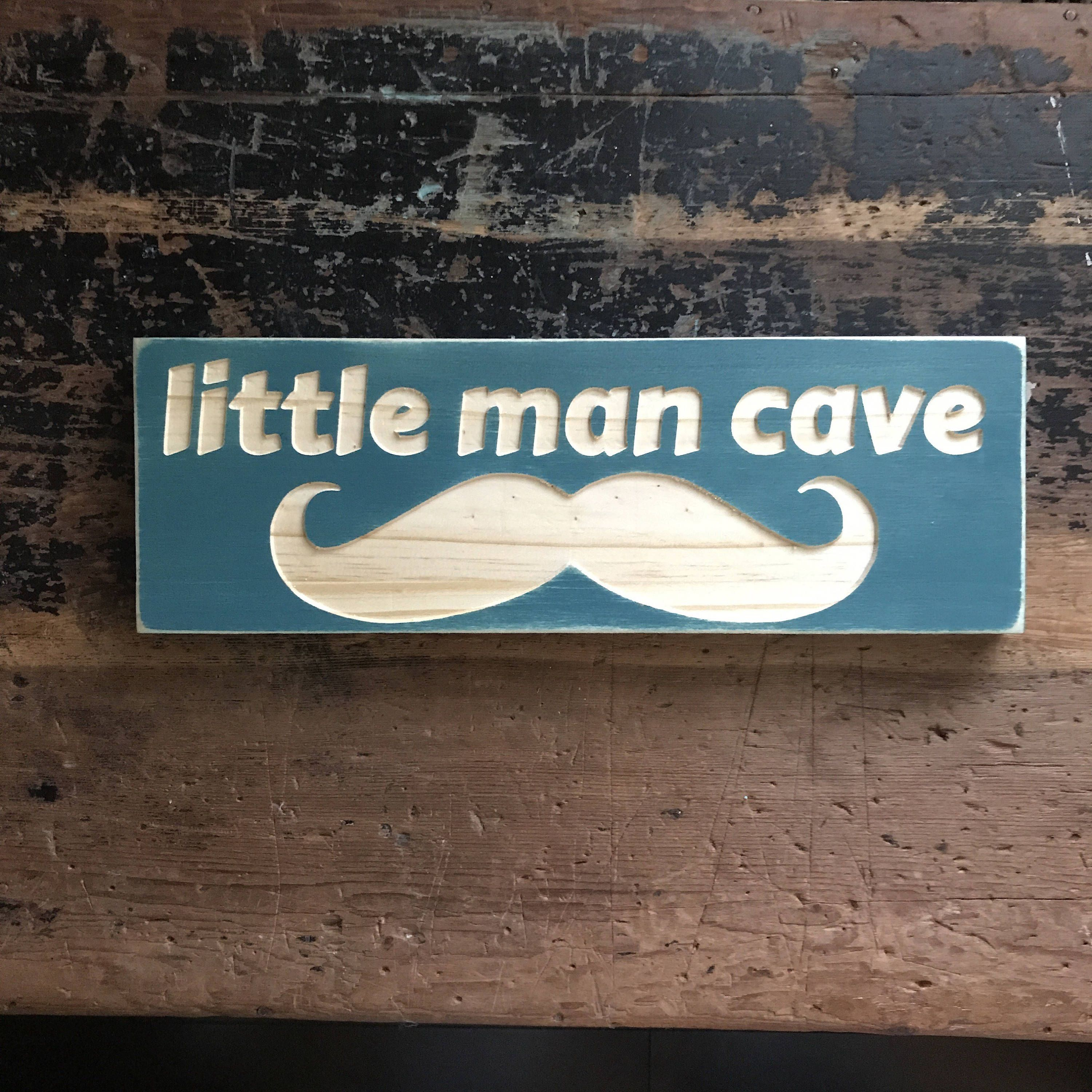 Little man cave sign carved wood sign wooden sign wood wall art