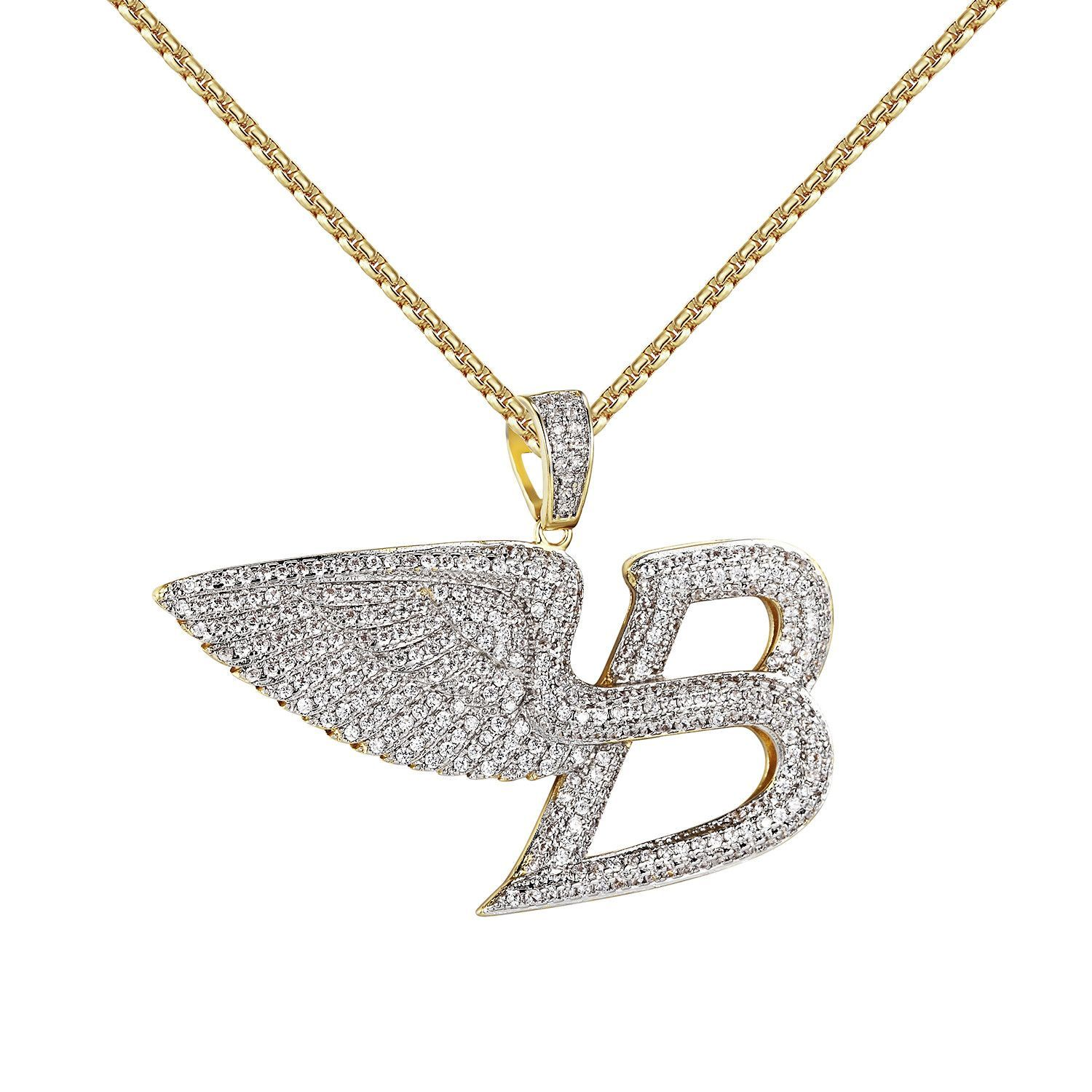 Angel wings luxury car logo b pendant iced out 14k gold finish free angel wings luxury car logo b pendant iced out 14k gold finish free 24 chain biocorpaavc Choice Image