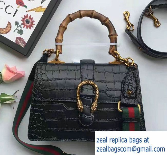 b87208c2e72 Gucci Dionysus Bamboo Croco Pattern Leather Top Handle Medium Bag 448075  Black 2016