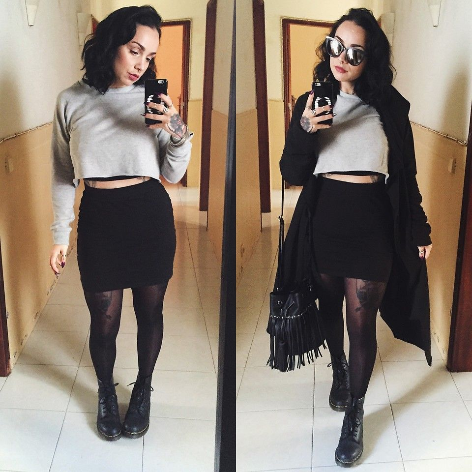 Priska Gomez - Shop One Cropped Sweater, H&M Black Bodycon Skirt ...