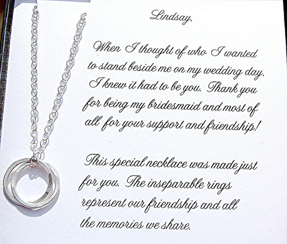 Bridesmaid Proposal Bridesmaid Gift Silver Necklace Maid Of Honor