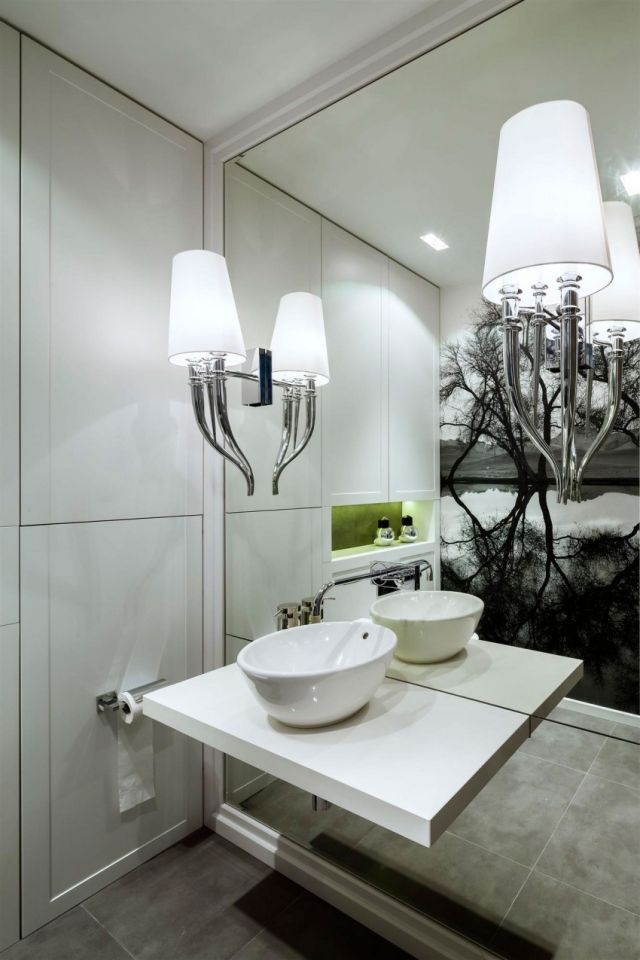 Badezimmer Wandleuchten Weiss Indirekte Beleuchtung Freistehendes
