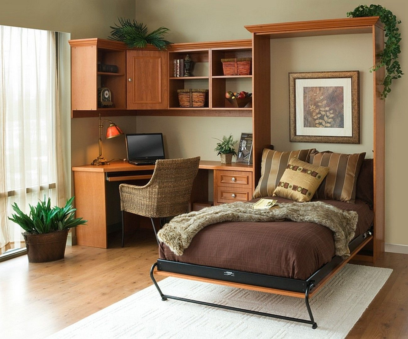 Sketch Of Comfortable Bedroom Design With Murphy Bed Kit Lowes Murphy Bed Office Bedroom Office Combo Bedroom Workspace