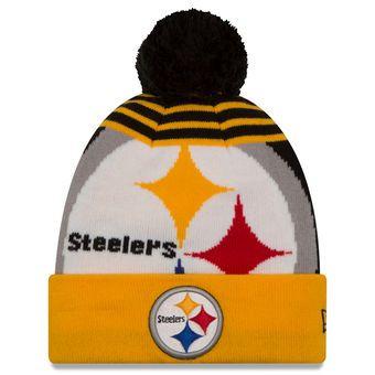 Men s Pittsburgh Steelers New Era Black Gold Logo Whiz 2 Cuffed Knit Hat  with Pom 7224b32cc3be