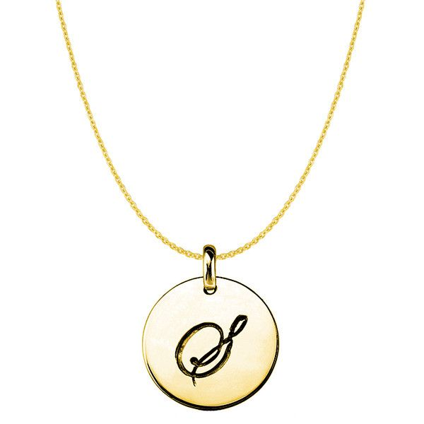 S14k yellow gold script engraved initial disk pendant initial s14k yellow gold script engraved initial disk pendant jewelryaffairs 1 aloadofball Image collections