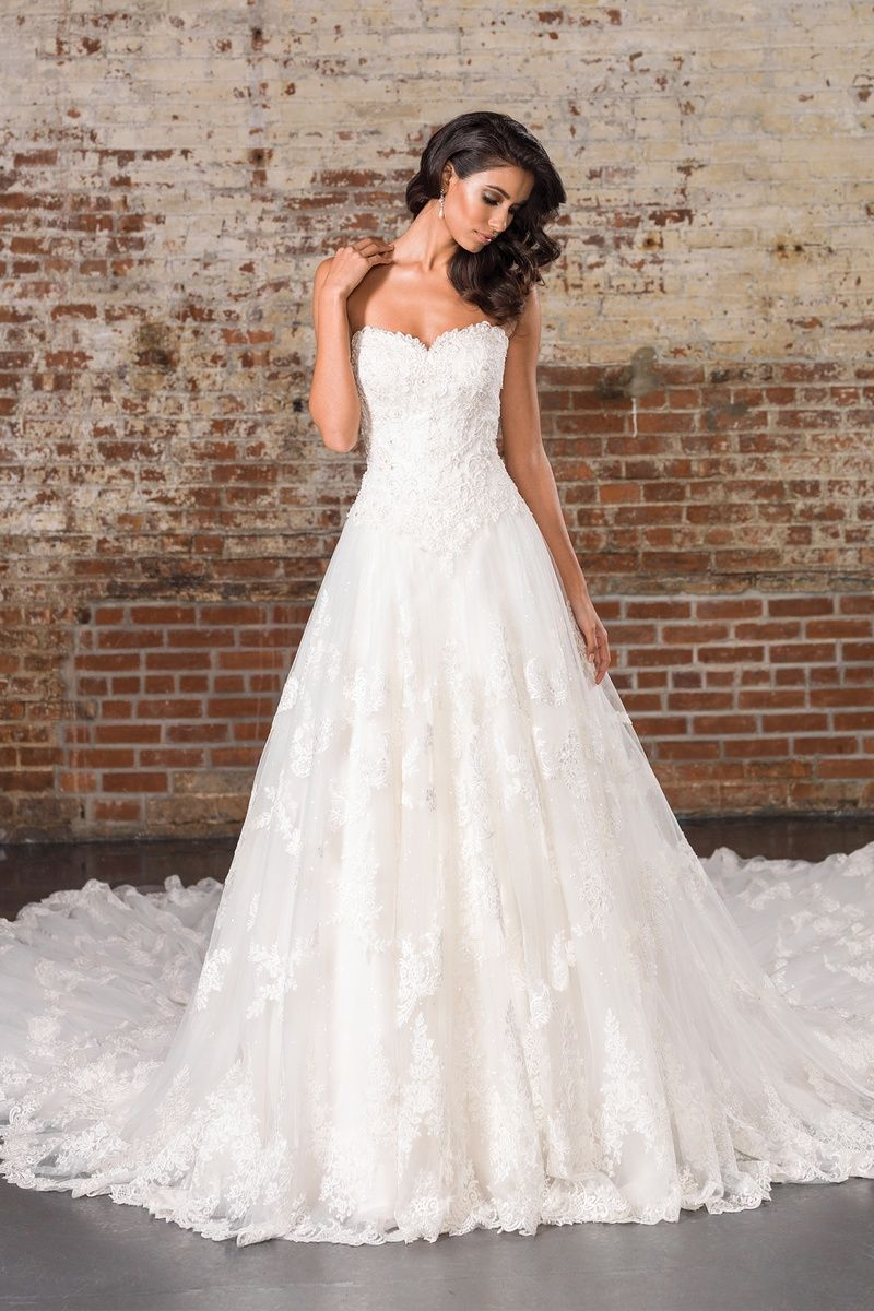 Dramatic wedding dresses  Justin Alexander Signature Allover Lace Gown with Sequin Underlay