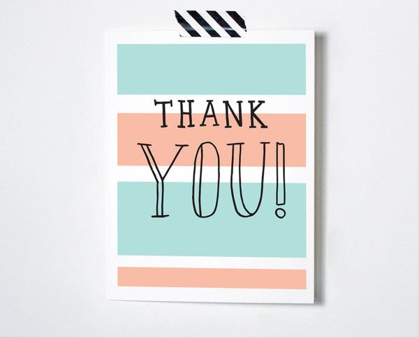 """Hand-sketched """"Thank You!"""" over bold colorblocked stripes, this screenprinted Thank You card is truly unique!Info- 3 color screenprinted card on French Paper Co"""