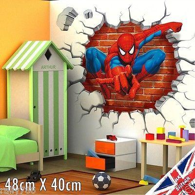 D Spiderman Wall Stickers Avengers Marvel Superhero D Crack - Spiderman wall decals uk