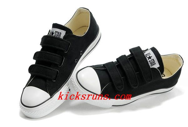 Velcro Converse All Star Black 3 Strap Low Tops Canvas Shoes