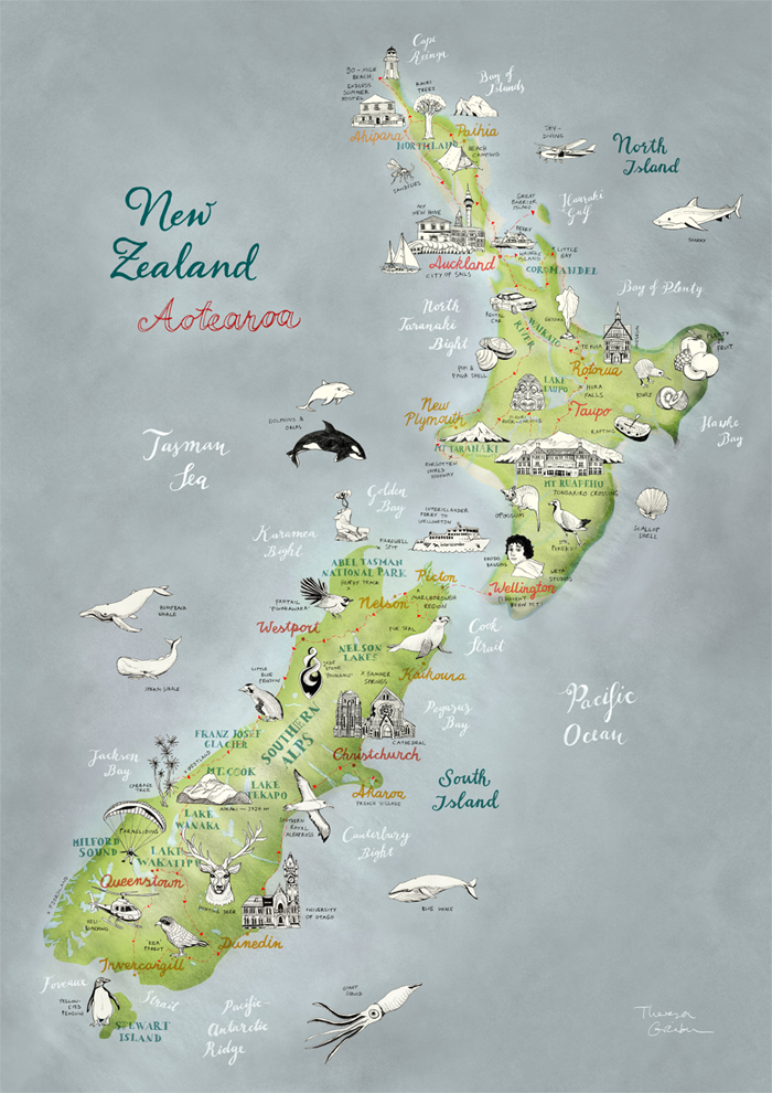 New Zealand Aotearoa illustrated Map by Theresa Grieben. Buy online ...