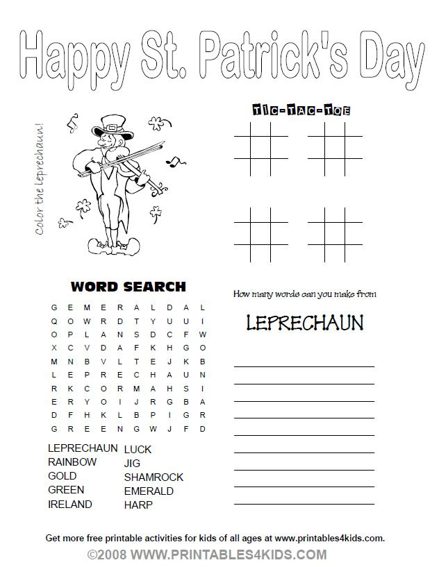 picture relating to St Patrick Day Puzzles Printable Free referred to as Printable 4-within-1 St Patricks Working day Game Sheet : Printables