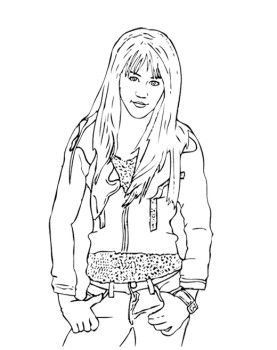 Both Hands Held Waist Hannah Montana Coloring Page For Kids