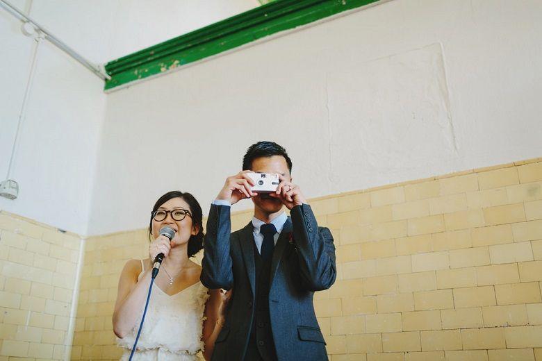 Bride and groom at the wedding reception | fabmood.com #wedding #rusticwedding #factorywedding