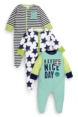4904e0fcd9b8 Buy Slogan Sleepsuits Three Pack (0mths-2yrs) from the Next UK ...